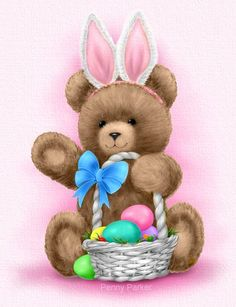 Teddy Bear With Easter Basket & Bunny Ears By Penny Parker images cartoon Easter Pictures, Holiday Pictures, Ostern Wallpaper, Penny Parker, Teddy Bear Cartoon, Teddy Bears, Easter Illustration, Pix Art, Easter Printables