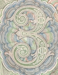 Number Typography, Typography Art, Spirograph, Banknote, Number 3, Type Design, Hand Lettering, Digital Prints, Stamps