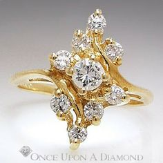 Estate 0.50ctw Cluster Diamond 14K Yellow Gold Right Hand Ring