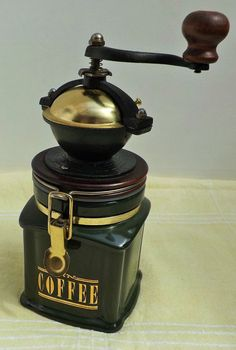 Ceramic & Cast Iron Green & gold Hand Coffee Grinder sealed Container attached