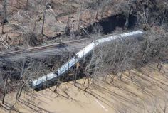 Aviation photo of a train blown over in Louisa, KY Credit: iWitness user ALLEN BOLLING