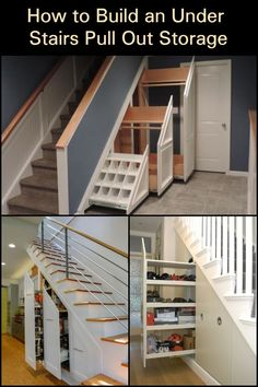 Make Use of The Space Under Your Stairs by Building This Practical Pull-Out Storage Basement Bedrooms, Basement Stairs, House Stairs, Walkout Basement, Shoe Storage Cupboard, Diy Storage, Storage Stairs, Laundry Storage, Diy Understairs Storage