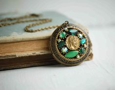 Green Rhinestone Jewel Locket