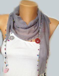 ON SALE Grey Scarf  Grey Crochet  Lace Scarf with by MaxiJoy, $12.90