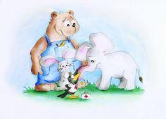 Rüsselschnupfen und Dr. Rabe (Illustration für Kinderbuch), mehr auf www.comicwald.de