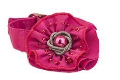 Bracelet - fabric rose flower cuff with bead and coiled wire