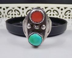 Old Navajo Sterling silver Ring Turquoise Coral Southwest Native American