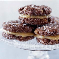 Chocolaty Peanut Butter Sandwich Cookies    A classic flavor pairing -- chocolate and peanut butter -- comes together to make these irresistible Christmas cookies. A dusting of coarse sugar adds a festive touch.
