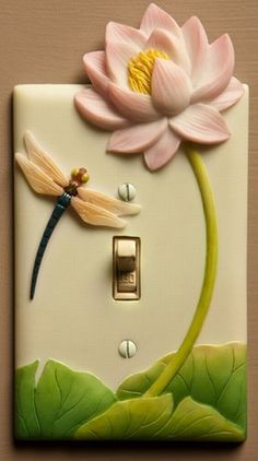 polymer clay fimo light switch cover, dragonfly and lotus