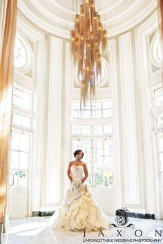 Bride beneath the chandelier at The Livingston Restaurant in the Georgian Terrace Hotel Atlanta