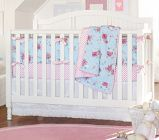 i like this pattern in pink & green, available on the PB Kids website.  Savannah Nursery Bedding Set