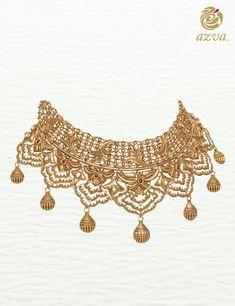 Azva bridal gold choker designed for life beyond the locker. Gold Chocker Necklace, Gold Choker, Bridal Necklace, Pearl Necklace, Chokers, Earrings, Antique Jewellery Designs, Gold Jewellery Design, Mens Gold Jewelry