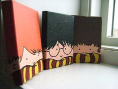 Painted Harry Potter Trio Magnets by recTangles11 on Etsy, $16.00.. i would paint these on bigger canvases and hang them in my baby's harry potter themed nursery