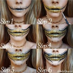 Step by step of glitter skull teeth for Halloween looks my favourite time of yea… - Makeup Looks Yellow Sugar Skull Halloween, Halloween Makeup Sugar Skull, Sugar Skull Makeup, Halloween Makeup Looks, Halloween Kostüm, Glitter Face Makeup, Skull Makeup Tutorial, Theatrical Makeup, Fantasy Makeup