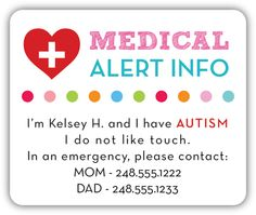 Pink Medical Alert Autism Safety Stickers