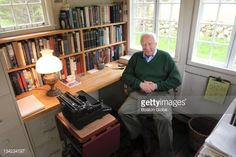 Author-historian David McCullough in his writing shed he built in the back yard of his West Tisbury home. Since he built the structure in 1970, all of his books have been written there.