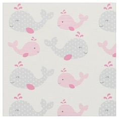 This adorable custom under the sea fabric features sweet pink and grey mom and baby whales. This is perfect for a nautical or under the sea themed nursery.