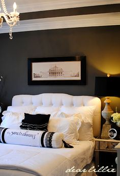 white bedding with deep gray walls and white trim. Yes!