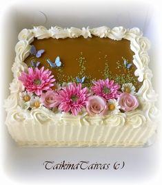Vuodatus.net Square Birthday Cake, Birthday Sheet Cakes, Birthday Cake For Women Elegant, Birthday Cakes For Women, Square Cake Design, Square Cakes, Pastel Rectangular, Birthday Cake For Boyfriend, Rectangle Cake