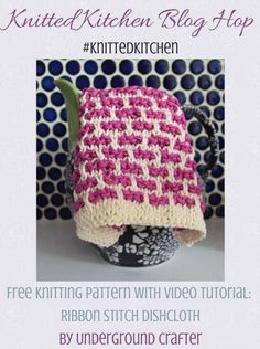 Free knitting pattern: Ribbon Stitch Dishcloth in Lion Brand Cotton with video tutorial by Underground Crafter Dishcloth Knitting Patterns, Crochet Dishcloths, Knit Patterns, Stitch Patterns, Bind Off Knitting, Knitting Stitches, Free Knitting, Crochet Home, Knit Crochet