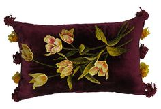 Pillow made with antique maroon silk and cotton velvet with silk embroidered tulips and chenille embroidered leaves. Silk ribbon tassels at ends original, solid back, hand-sewn closure.