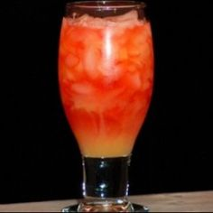 Red Death     (Kamikaze  Alabama Slammer mixed together)    Kamikaze    1 part Vodka  1 part Triple Sec  1 part Lime Juice      Alabama Slammer goes as follows:    1 part Southern Comfort  1 part Amaretto  1 part Sloe Gin  Orange juice    You get a tall glass with a bit of ice and you mix both of these together.