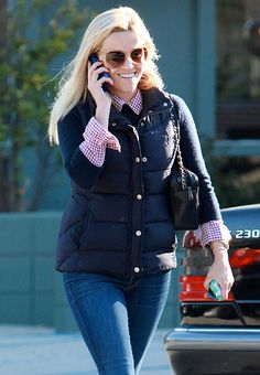 gingham shirt, sweater, puffy vest-love Reese