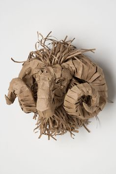 Anthropologie - Ram Bust by Ivar Theorin Cardboard Sculpture, Cardboard Paper, Art Sculpture, Cardboard Crafts, Animal Sculptures, Paper Crafts, Paper Clay, Animal Projects, Art Projects