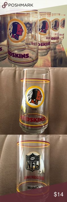 Set of 4, NFL Washington Redskins Glasses by Mobil For sale is a set of 4, NFL Washington Redskins Mobil gas promotional drinking tumbler glasses from the late 1980s. They have never been used and were souvenirs on a shelf proudly displayed for years. They were packaged away for about two years and brought back out for sale. All are in excellent condition; some may have residue from storage dust and tape. Can be easily hand washed and rinsed. A must have for the Redskins football fan in your…