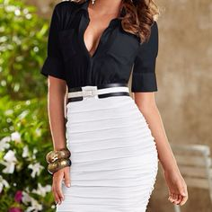 awesome white skirt and black blouse