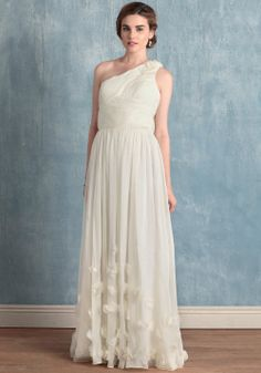 one shoulder simple wedding dress for summer, fall, spring