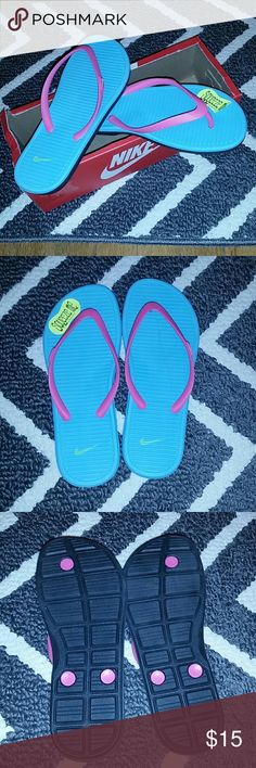 Nike sandals Brand new in the box. Never been worn! Pretty light blue and pink color. Size is 6 youth but will fit a ladies size 7. Nike Shoes Sandals