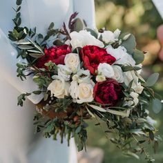 Bridal bouquet with burgundy peonies for the Cretan winery wedding by Crete for Love www.creteforlove.com