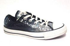 Womens Gerls Converse All Star 121421F Gray Sparkle Womens Sz 6 Eu 36.5 #Converse #AthleticSneakers