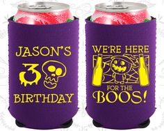30th Birthday, 30th Neoprene Birthday, Pumpkin Birthday, Halloween Birthday, Neoprene Birthday Can Coolers (20290)