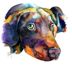 Watercolor Painting by Christy Freeman - Doberman Watercolor Fine Art ...