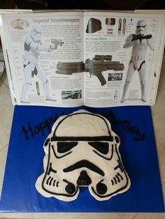 Stormtrooper cupcake cake for my nephews 4th birthday. #stormtrooper #starwars