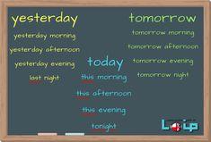Pory dnia (parts of a day) wczoraj, dzisiaj i jutro - angielski z LOIP Perfect English, English Fun, English Words, English Lessons, Learn English, English Language, Education English, Teaching English, College Checklist