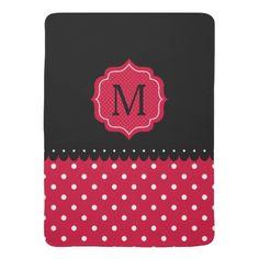 Red White Black Polka Dot Custom Monogram Design Receiving Blanket