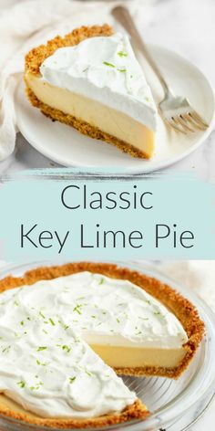 Classic key lime pie is a delicious dessert, perfect anytime! Classic key lime pie recipe features an easy homemade graham cracker crust, a smooth and creamy key lime pie filling, and homemade whipped cream on top. The perfect dessert for key lime lovers! Mini Desserts, Key Lime Desserts, Homemade Desserts, Easy Desserts, Delicious Desserts, Dessert Recipes, Homemade Pie, Homemade Key Lime Pie Recipe, Homemade Snickers