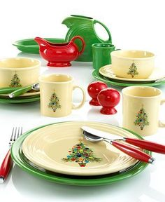 Fiesta Dinnerware, Christmas Tree Collection - Casual Dinnerware - Dining & Entertaining - Macy's Bridal and Wedding Registry Christmas China, Christmas Dishes, Christmas Tablescapes, Noel Christmas, All Things Christmas, Christmas Decor, Xmas, Holiday Tablescape, Christmas Brunch