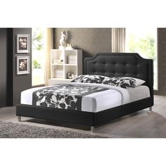 Baxton Studio Carlotta Black Modern Bed with Upholstered Headboard | Overstock™ Shopping - Great Deals on Baxton Studio Beds