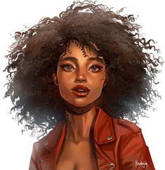 Black Girl Cartoon, Black Girl Art, Black Women Art, Character Portraits, Character Drawing, Black Anime Characters, Black Artwork, Hair Reference, Afro Art