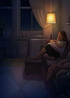 Perfect moments you'll have when you live alone - Yaoyao Ma Van As Girl Cartoon, Cartoon Art, Aesthetic Art, Aesthetic Anime, Alone Art, Anime Triste, Illustration Mode, Couple Illustration, Anime Art Girl
