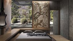Bedroom with rustic wood and mosaic wall panels from the Jakuchu Collection by SICIS: The Art Mosaic Factory