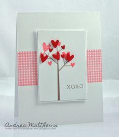 Sweet  ~ Valentines ~  tree Hand made Card.: