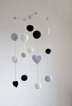 crochet mobile hearts