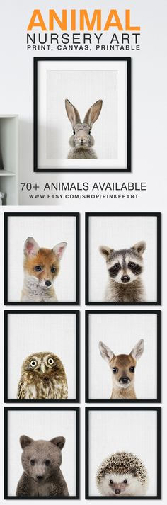 These Woodland Animal Prints For Nursery are too cute! Make your own baby animals set for your nursery! Forest Baby Animals, Woodland Baby Animals Nursery by https://www.etsy.com/shop/PinkeeArt