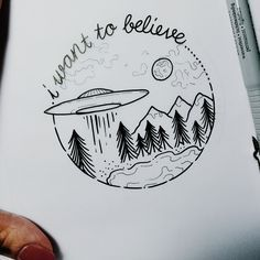 Drawing Doodles Ideas Maybe a more minimalist version of this- just mountains and ufo - Alien Drawings, Doodle Drawings, Easy Drawings, Doodle Art, Simple Tumblr Drawings, Easy Nature Drawings, Hipster Drawings, Space Drawings, Minimalist Drawing