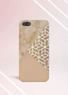 Marble x Gold x Cream Design Case for iPhone